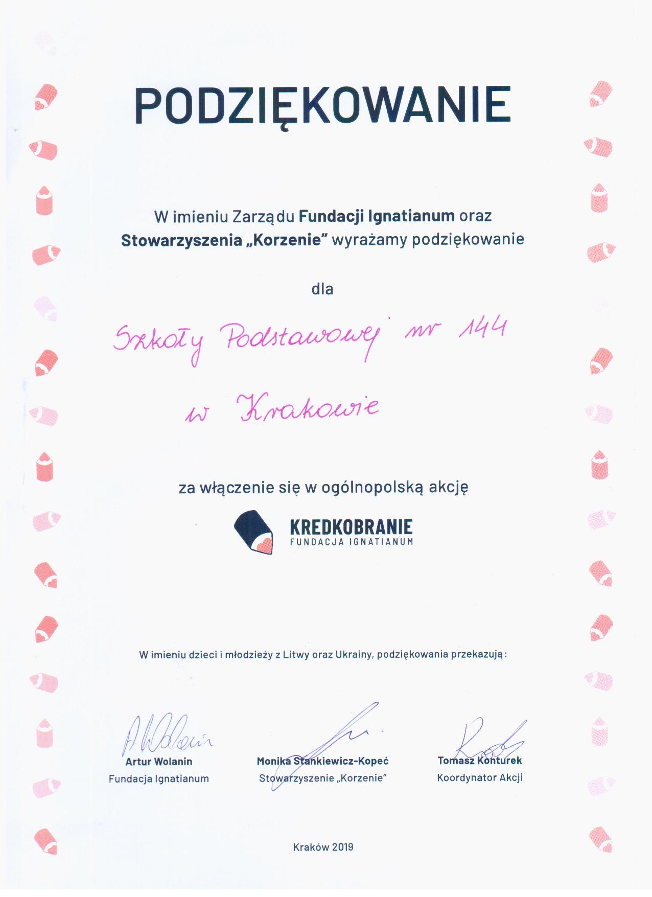 Podziekowania I Dyplomy Szkola Podstawowa Nr 144 W Krakowie